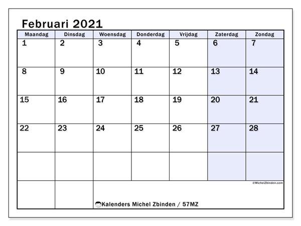 Kalender februari 2021, 57MZ. Kalender om gratis af te drukken.