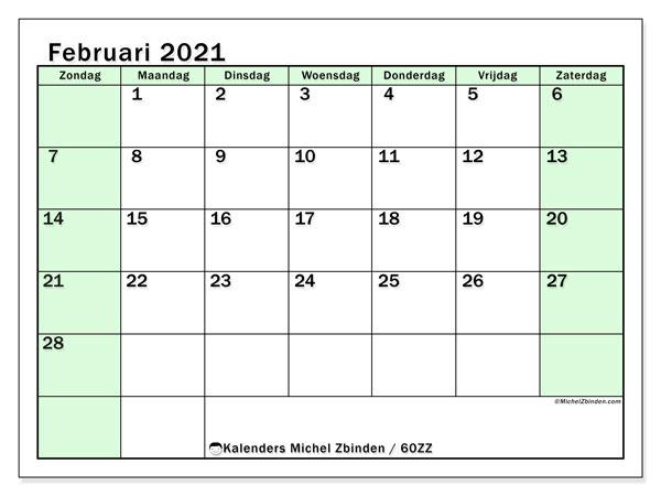 Kalender februari 2021, 60ZZ. Agenda om gratis te printen.