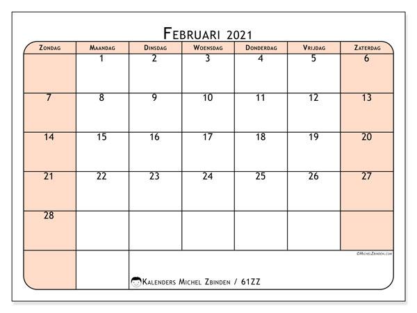 Kalender februari 2021, 61ZZ. Gratis kalender om af te drukken.