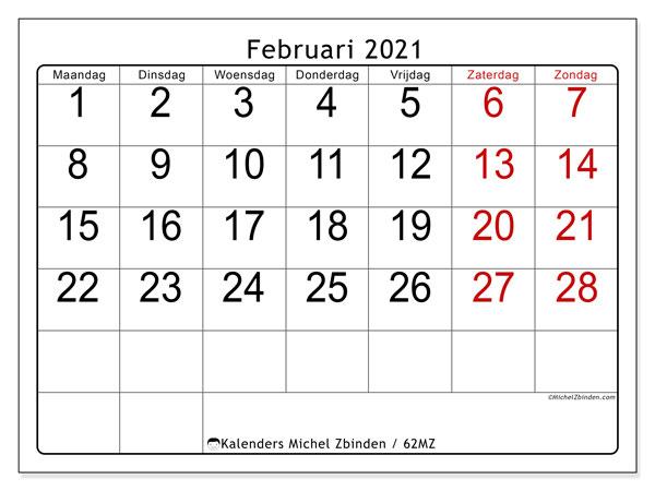 Kalender februari 2021, 62MZ. Kalender om gratis af te drukken.