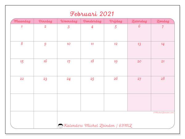 Kalender februari 2021, 63MZ. Kalender om gratis af te drukken.