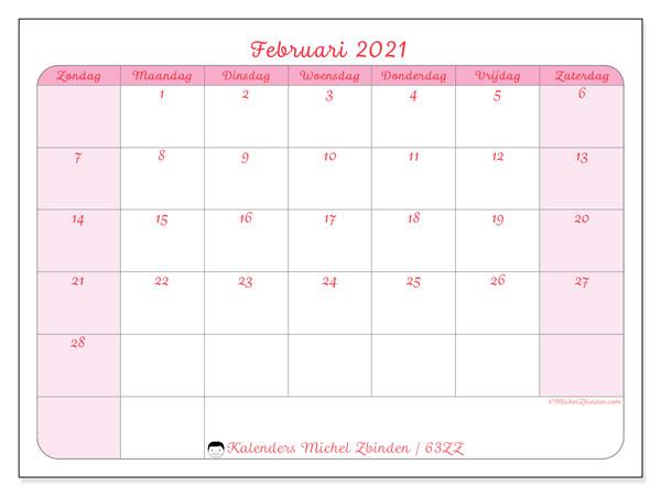 Kalender februari 2021, 63ZZ. Gratis kalender om af te drukken.