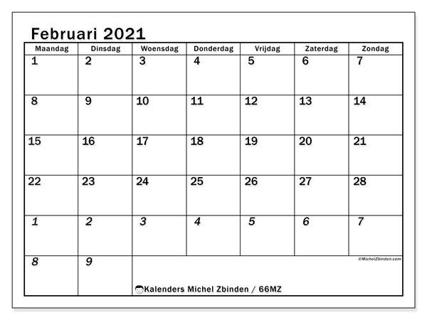 Kalender februari 2021, 66MZ. Kalender voor de maand die gratis moet worden afgedrukt.