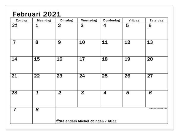 Kalender februari 2021, 66ZZ. Gratis kalender om af te drukken.