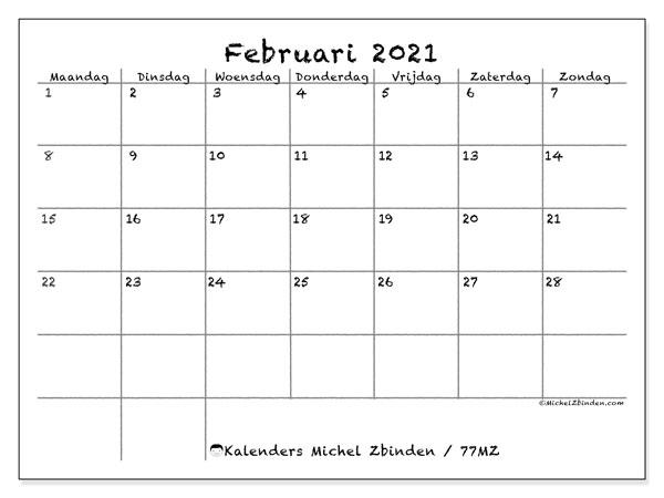 Kalender februari 2021, 77MZ. Gratis printbare kalender.