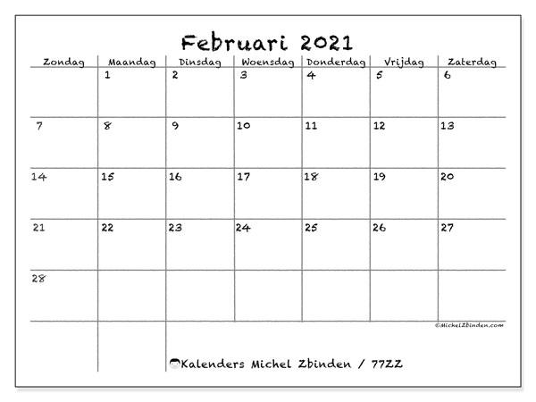 Kalender februari 2021, 77ZZ. Gratis kalender om af te drukken.