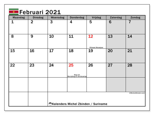Kalender februari 2021, met feestdagen in Suriname. Kalender feestdagen om gratis te printen.
