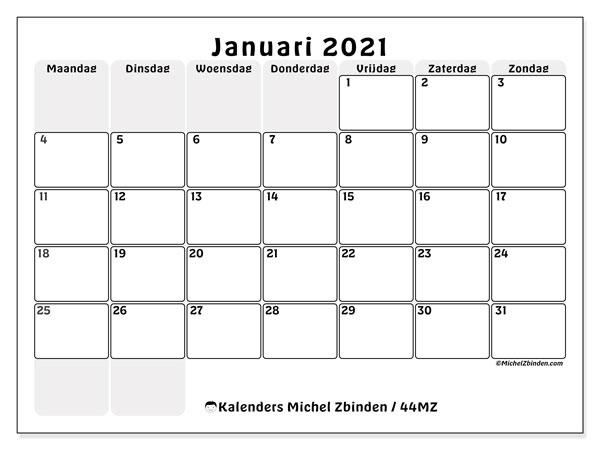 Kalender januari 2021, 44MZ. Gratis printbare kalender.