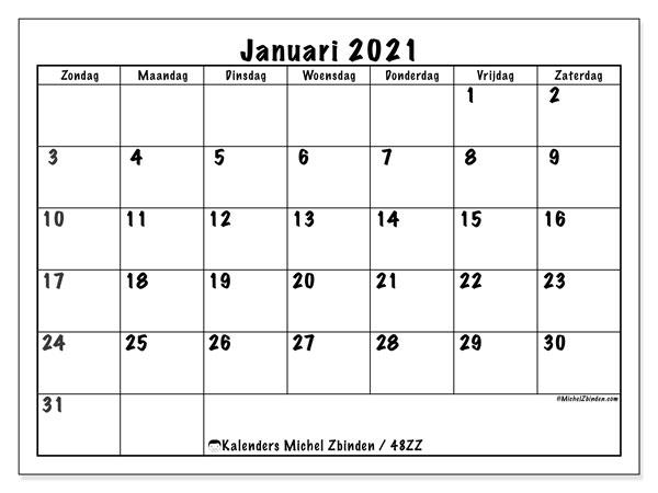 Kalender januari 2021, 48ZZ. Gratis afdrukbare kalender.