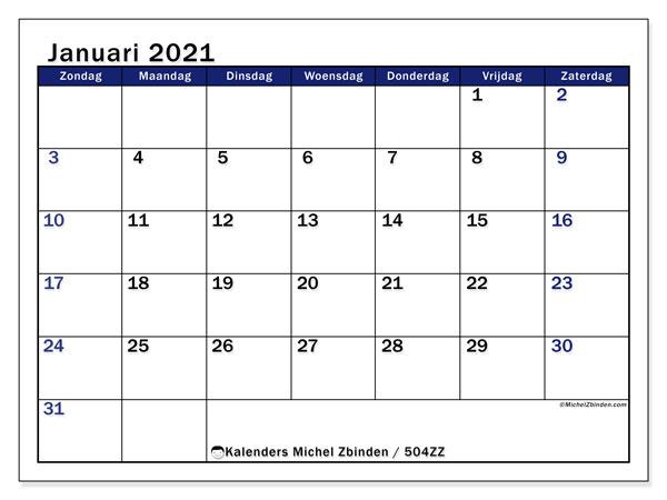 Kalender 504zz Januari 2021 Om Af Te Drukken Michel Zbinden Nl