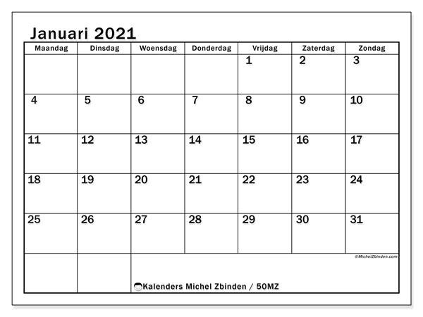 Kalender januari 2021, 50MZ. Maandkalender om gratis te printen.