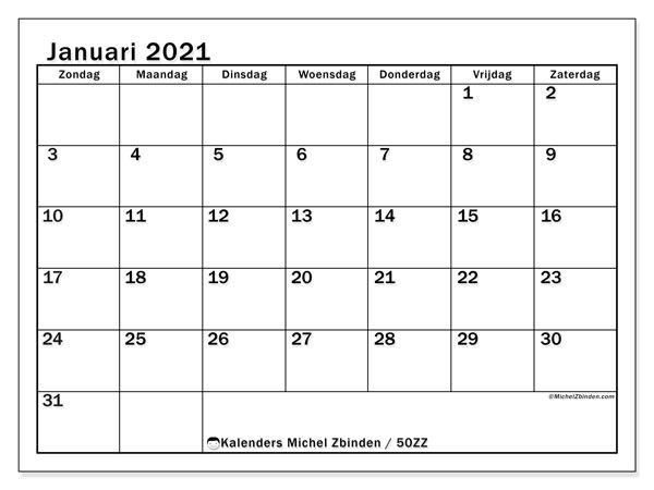 Kalender januari 2021, 50ZZ. Gratis printbare kalender.