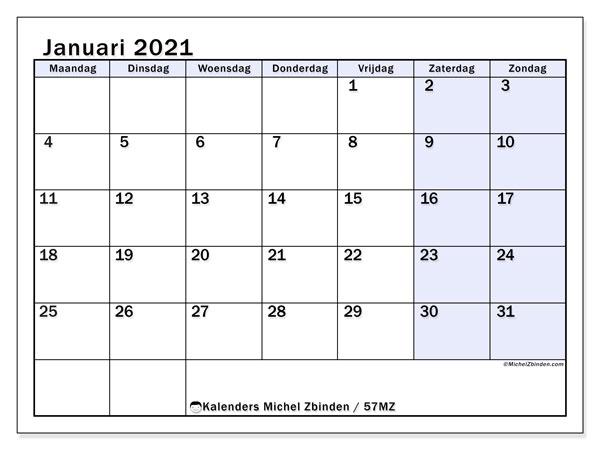 Kalender januari 2021, 57MZ. Kalender om gratis af te drukken.