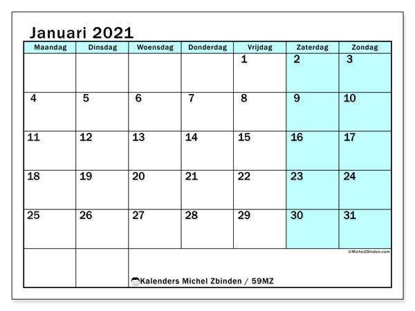 Kalender januari 2021, 59MZ. Schema om gratis te printen.