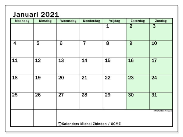 Kalender januari 2021, 60MZ. Kalender om gratis af te drukken.