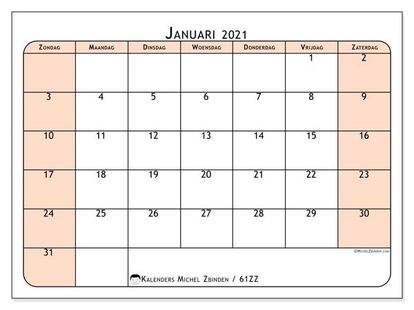 Kalender januari 2021, 61ZZ. Kalender om gratis te printen.