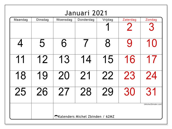 Kalender januari 2021, 62MZ. Gratis afdrukbare kalender.