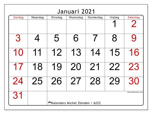 Kalender januari 2021, 62ZZ. Gratis printbare kalender.