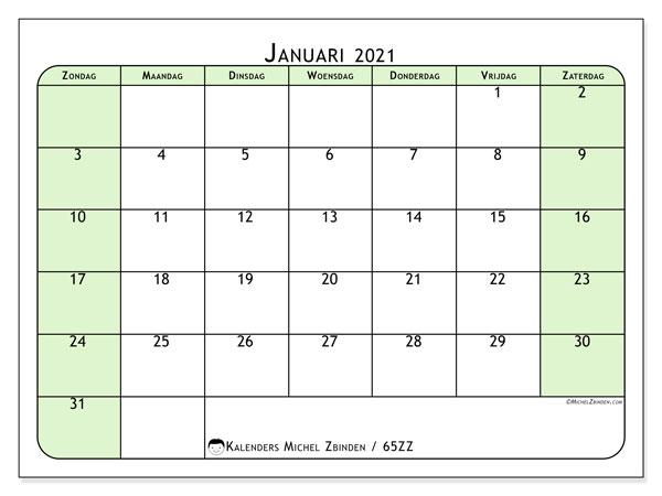 Kalender januari 2021, 65ZZ. Schema om gratis te printen.