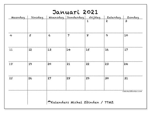 Kalender januari 2021, 77MZ. Kalender voor de maand die gratis moet worden afgedrukt.
