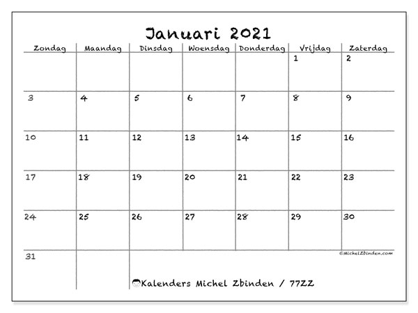 Kalender januari 2021, 77ZZ. Agenda om gratis te printen.