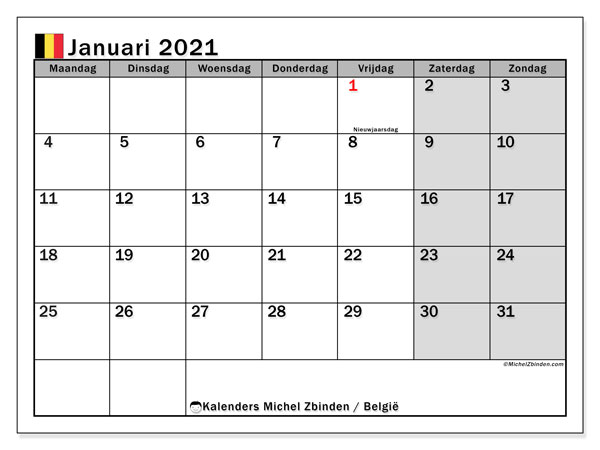Kalender januari 2021, met feestdagen in België. Kalender feestdagen om gratis te printen.