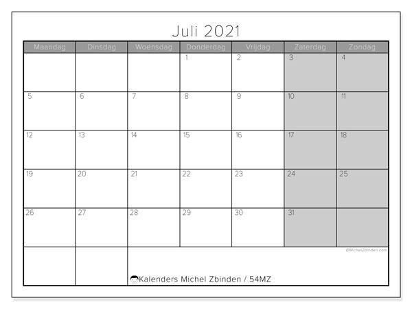 Kalender juli 2021, 54MZ. Schema om gratis te printen.