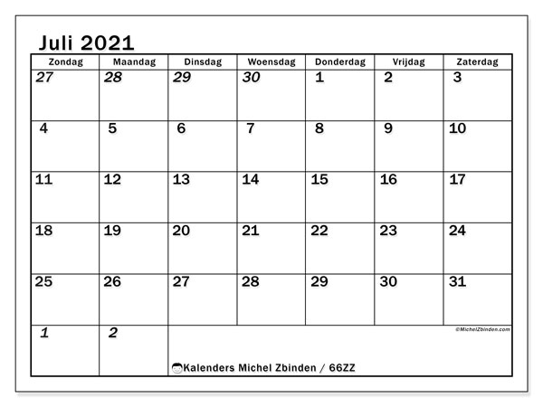 Kalender juli 2021, 66ZZ. Gratis printbare kalender.