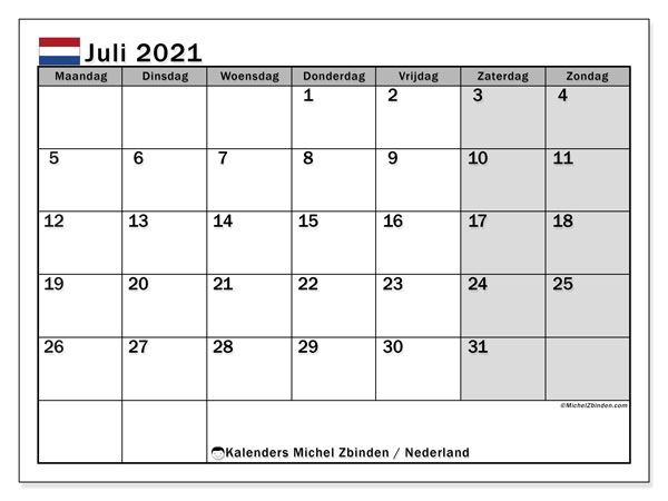 Kalender juli 2021, met feestdagen in Nederland. Kalender feestdagen om gratis te printen.