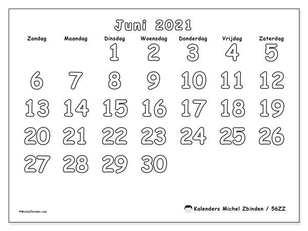 Kalender juni 2021, 56ZZ. Gratis kalender om af te drukken.