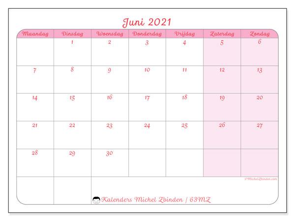 Kalender juni 2021, 63MZ. Schema om gratis te printen.