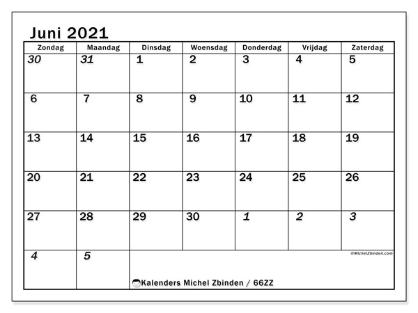 Kalender juni 2021, 66ZZ. Gratis afdrukbare kalender.