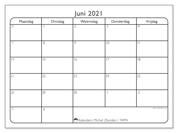 Kalender juni 2021, 74ZZ. Maandkalender om gratis te printen.
