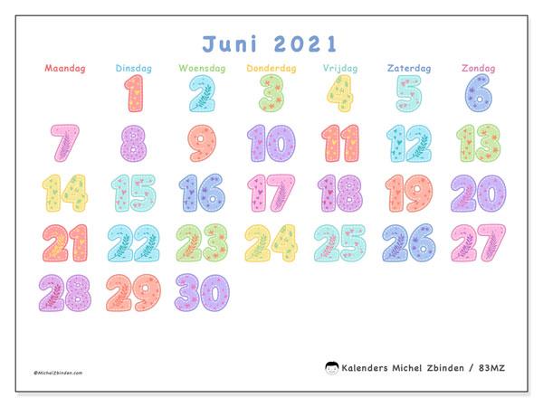 Kalender juni 2021, 83MZ. Gratis printbare kalender.