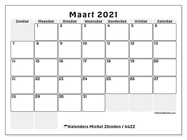 Kalender maart 2021, 44ZZ. Gratis afdrukbare kalender.