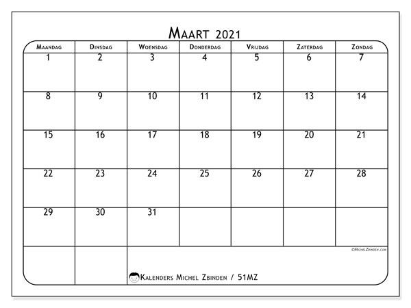 Kalender maart 2021, 51MZ. Kalender voor de maand die gratis moet worden afgedrukt.