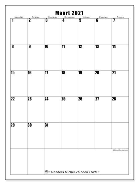 Kalender maart 2021, 52MZ. Schema om gratis te printen.