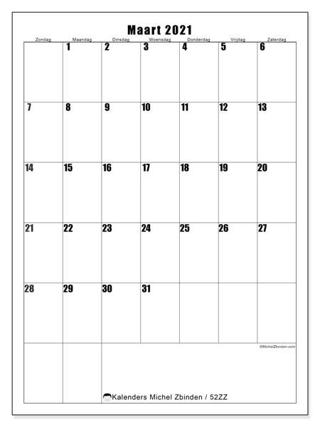 Kalender maart 2021, 52ZZ. Gratis afdrukbare kalender.