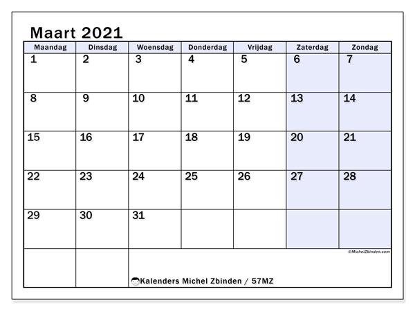 Kalender maart 2021, 57MZ. Kalender om gratis af te drukken.
