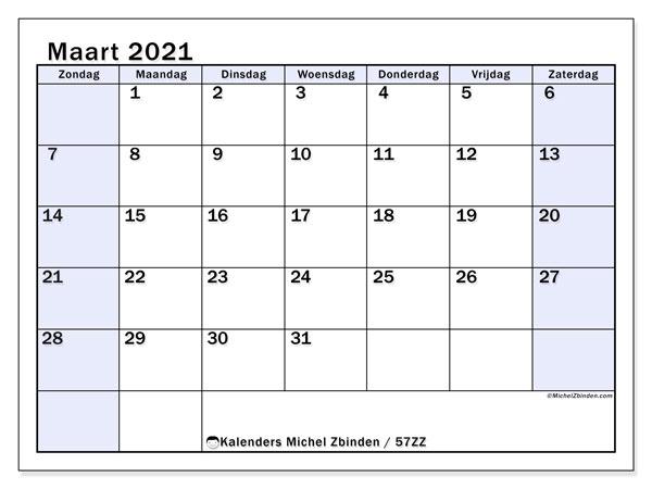 Kalender maart 2021, 57ZZ. Kalender om gratis te printen.