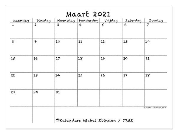 Kalender maart 2021, 77MZ. Gratis printbare kalender.