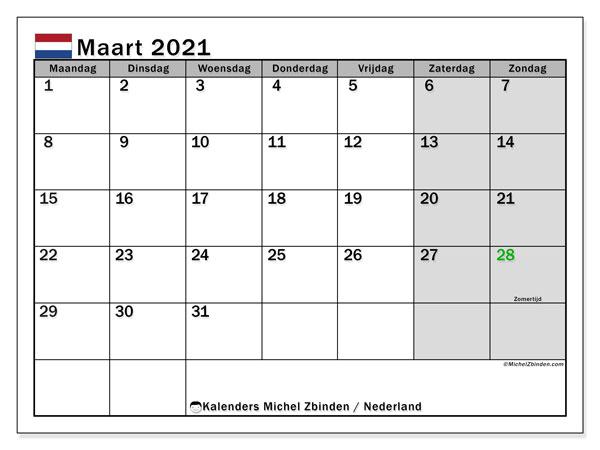 Kalender maart 2021, met feestdagen in Nederland. Kalender om gratis te printen met feestdagen.