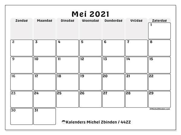 Kalender mei 2021, 44ZZ. Agenda om gratis te printen.