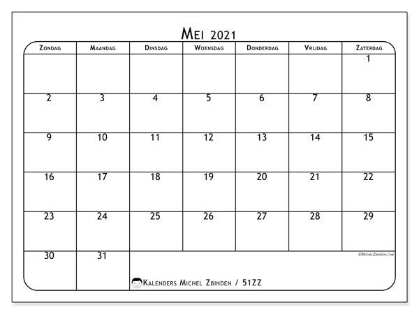 Kalender mei 2021, 51ZZ. Kalender om gratis te printen.