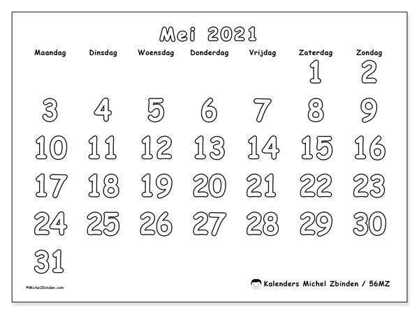 Kalender mei 2021, 56MZ. Agenda om gratis te printen.