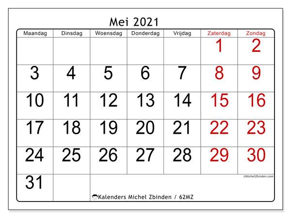Kalender mei 2021, 62MZ. Gratis kalender om af te drukken.