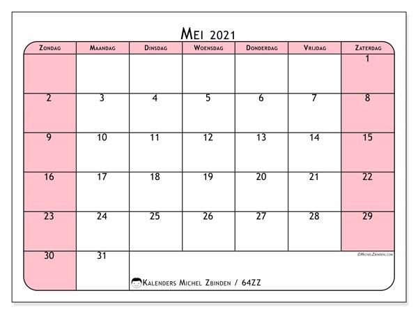 Kalender mei 2021, 64ZZ. Agenda om gratis te printen.