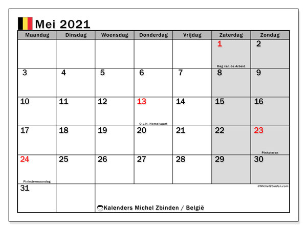 Kalender mei 2021, met feestdagen in België. Kalender om gratis te printen met feestdagen.