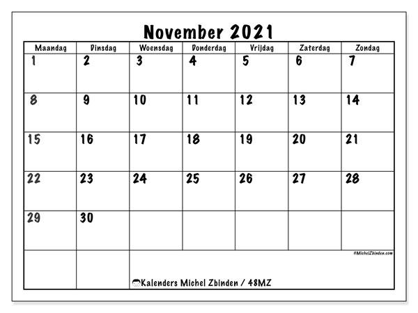 Kalender november 2021, 48MZ. Kalender om gratis te printen.