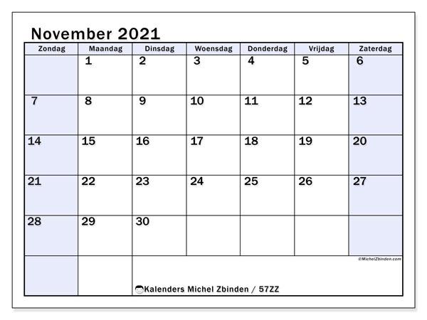 Kalender november 2021, 57ZZ. Kalender om gratis af te drukken.
